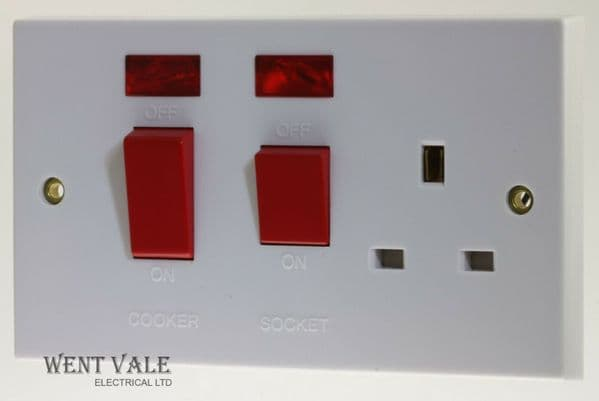 Holder - CORE3017 - 45a Moulded Double Pole Cooker Switch with Socket and Neon's